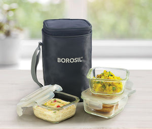 Borosil microwavable klip N store glass lunch box (3 square container of 320ml each, pouch color grey),
