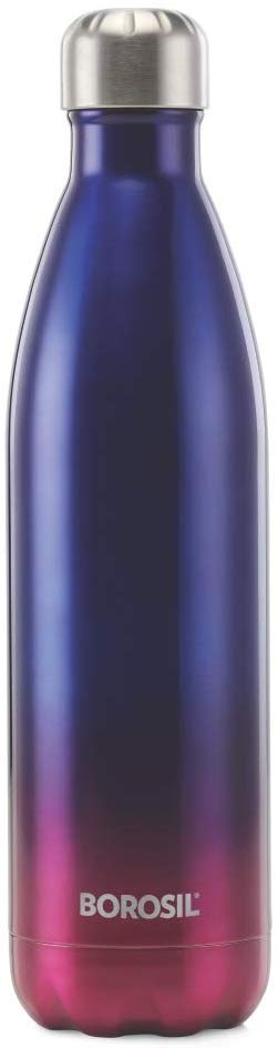 Borosil Stainless Steel Hydra Bolt Spectra - Vacuum Insulated Flask Water Bottle, Blue, 750ML
