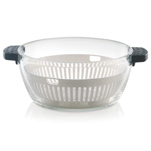 Borosil Glass Casserole - Oven and Microwave Safe Serving Bowl with Steamer, 2L