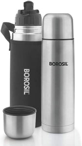 Borosil Hydra Thermo Stainless Steel Flask, 1000ml, Silver