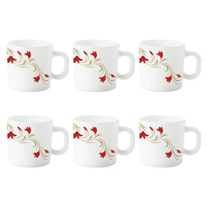 Larah by Borosil Red Lily Opalware Mug Set, 6-Pieces, White