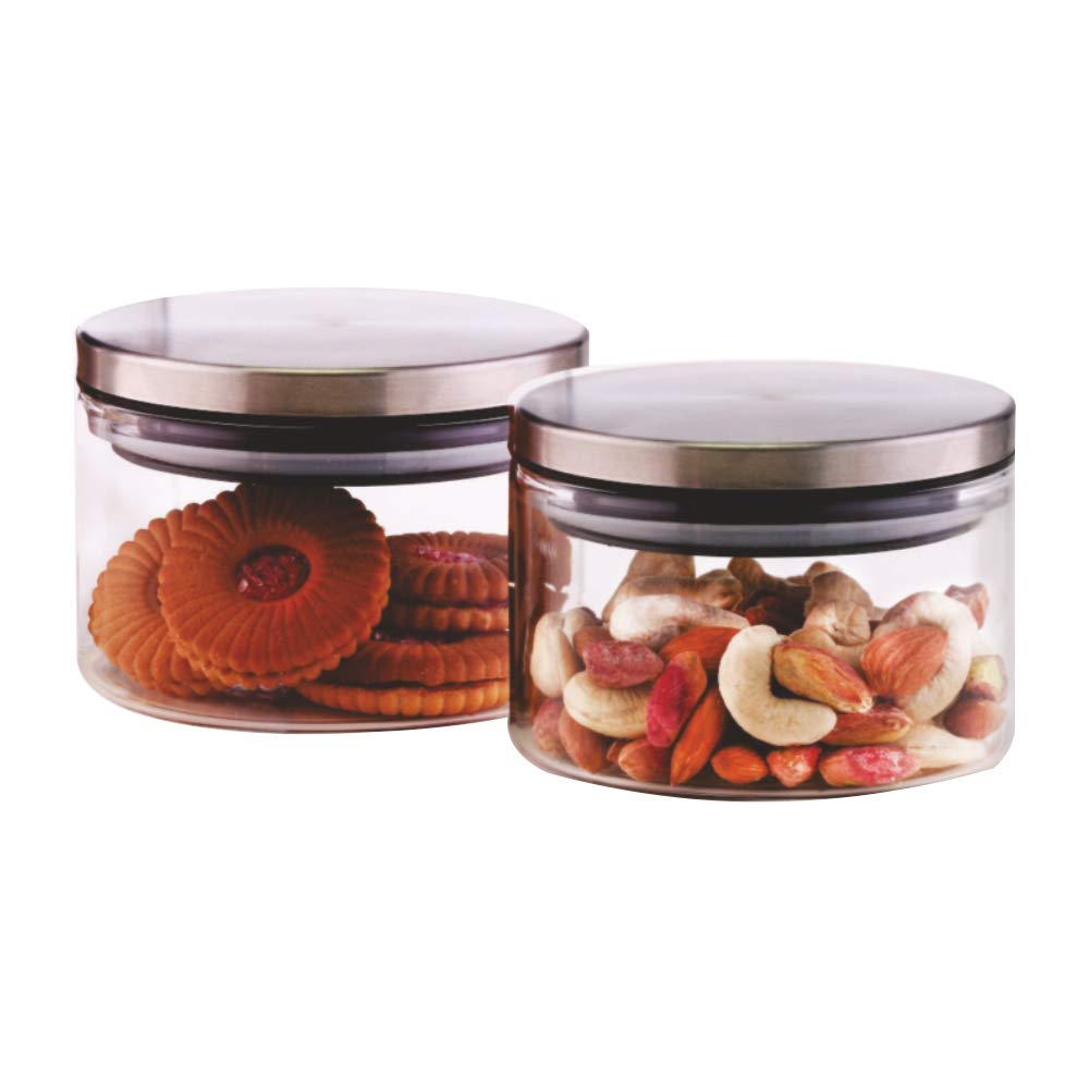 Borosil Classic Glass Jar for Kitchen Storage, Set of 2, (300ml + 300ml)