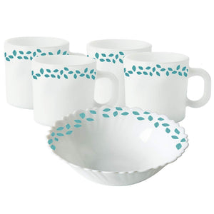 Larah by Borosil Blue Leaves Opalware Snacks Set, 5-Pieces, White