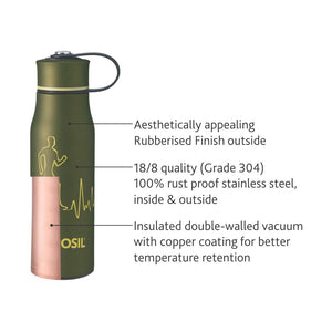 Borosil ACTIV - Vacuum Insulated Flask Water Bottle, Green, 500ML