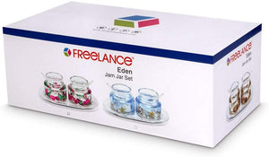 Freelance Eden Acrylic Jam Jar Set Dispenser Box Holder Keeper Case Dish with Lid & Spoon