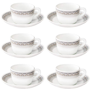 Larah by Borosil Classic Cup and Saucer Set, 140ml, 12-Pieces, White