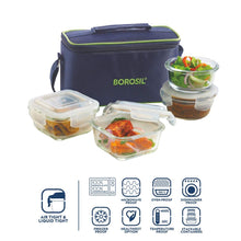 Load image into Gallery viewer, Borosil Glass Universal Lunch Box Set of 4, (2pcs 320 ml sqr + 2pcs 240 ml Rnd) Microwave Safe Office Tiffin