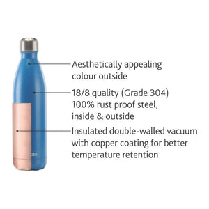 Borosil Stainless Steel Hydra Bolt - Vacuum Insulated Flask Water Bottle, Blue, 500ML