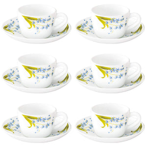 Larah by Borosil Lavender Cup and Saucer Set, 140ml, 12-Pieces, White