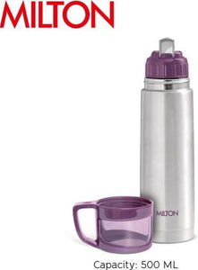 Milton Glassy 1000 ml Flask  (Pack of 1, Purple, Steel)