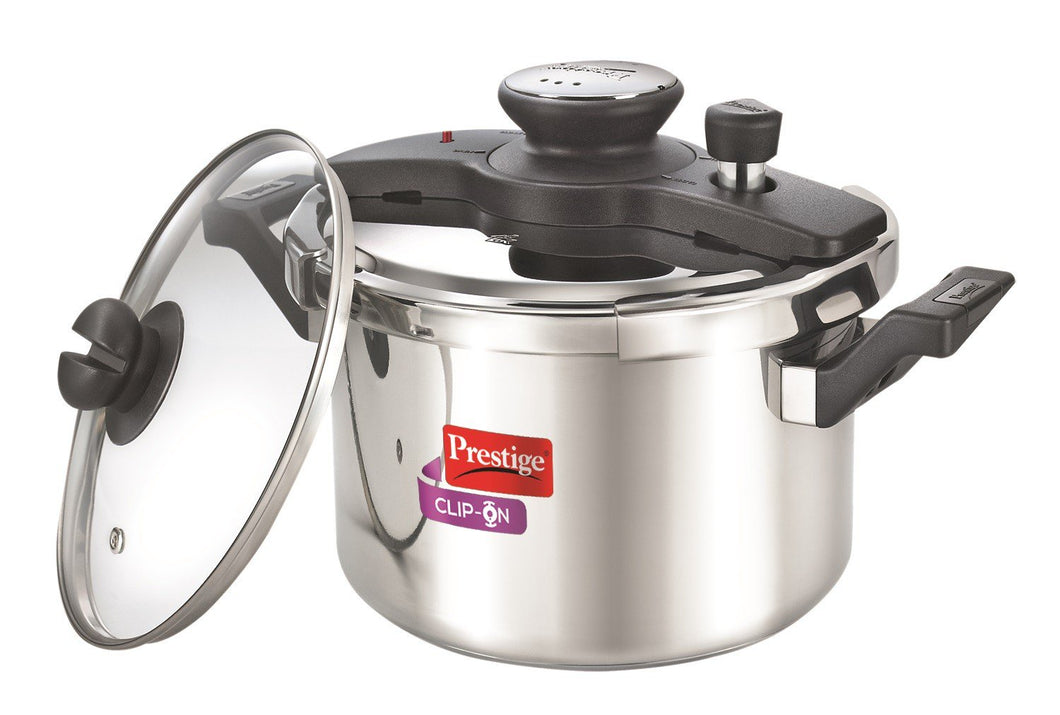 Clip on Stainless Steel 5 ltr pressure cooker with Universal Lid along and glass lid with ladle holder  Item Code: 25645
