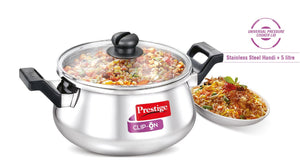 Clip on Stainless Steel Handi Cookware - 5 Litre.  Item Code: 36328