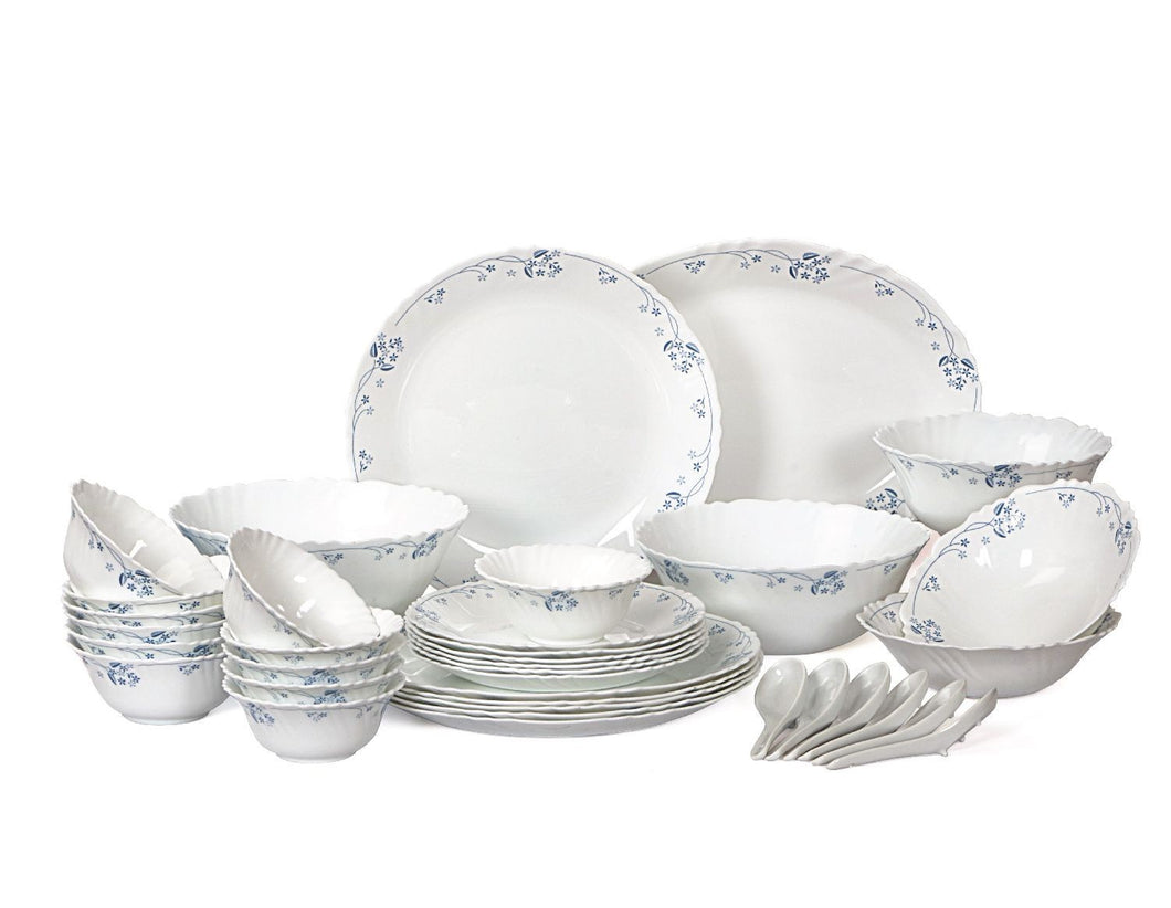 Cello Imperial Dainty Blue Opalware Dinner Set, 36 Pcs, White