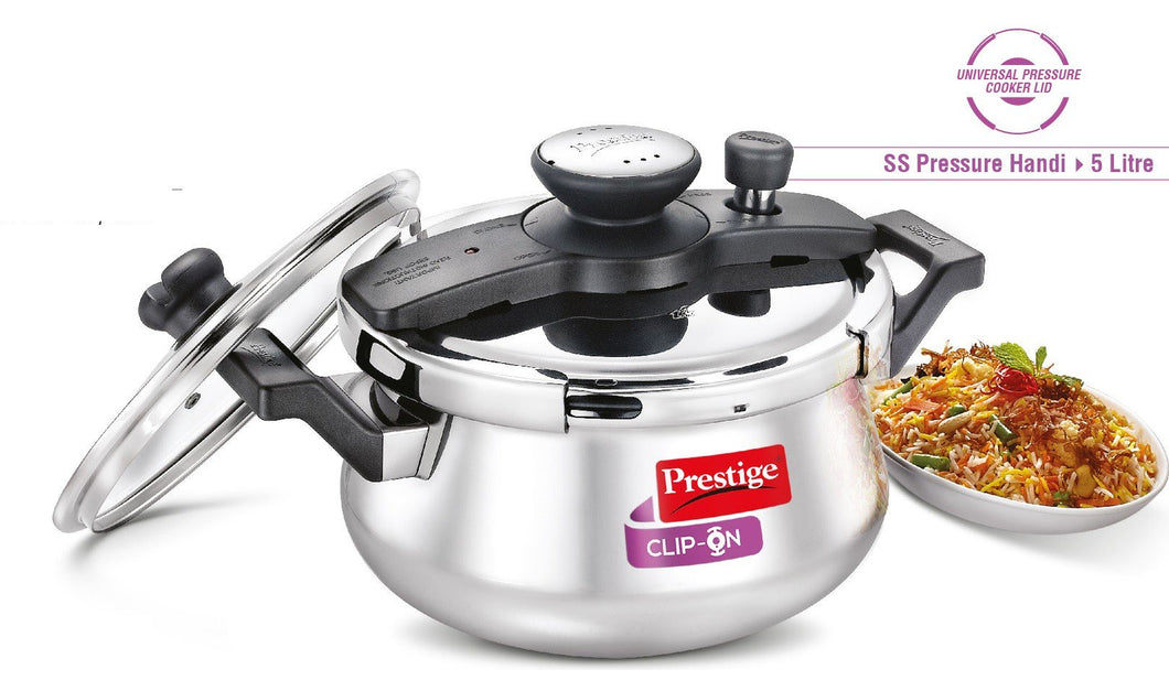 Clip-On Stainless Steel Pressure Cooker Handi- 5 Litre  Item Code: 25655