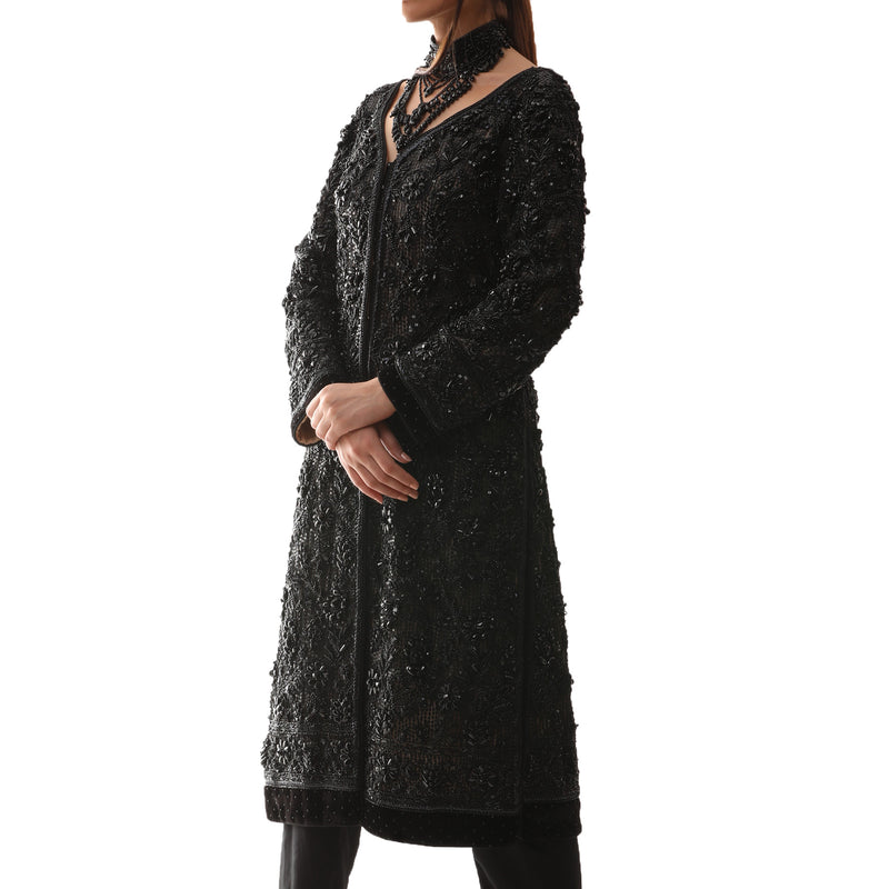Black Beaded Swarovski Crystal Coat