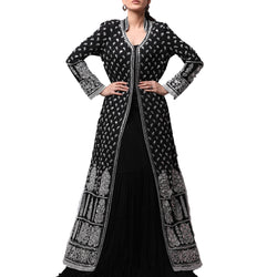 Black Cotton Georgette Long Coat