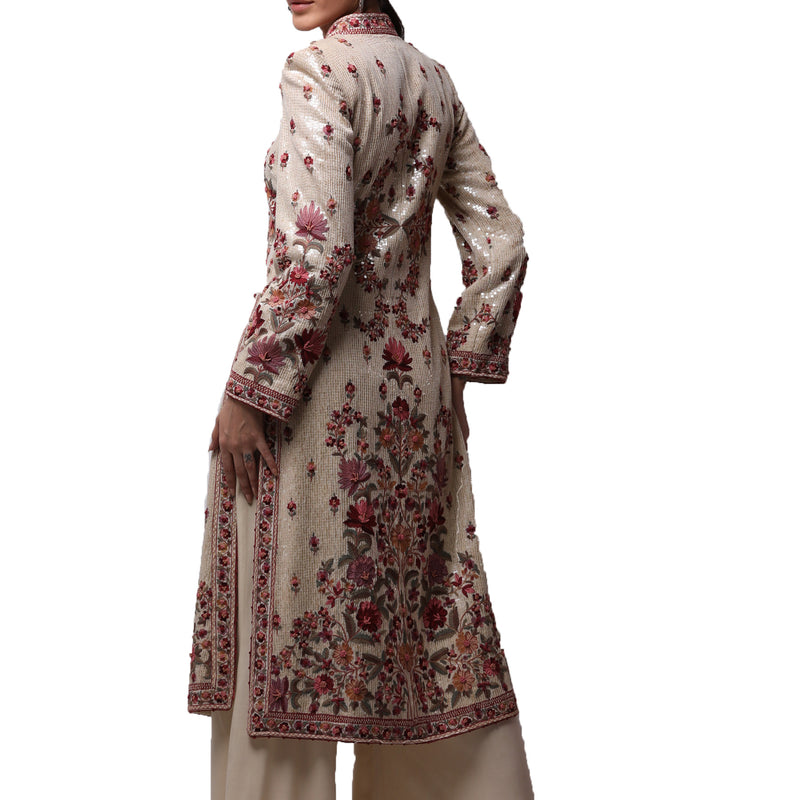 Ivory Coat With Multi-Resham Kashmiri Crewel work