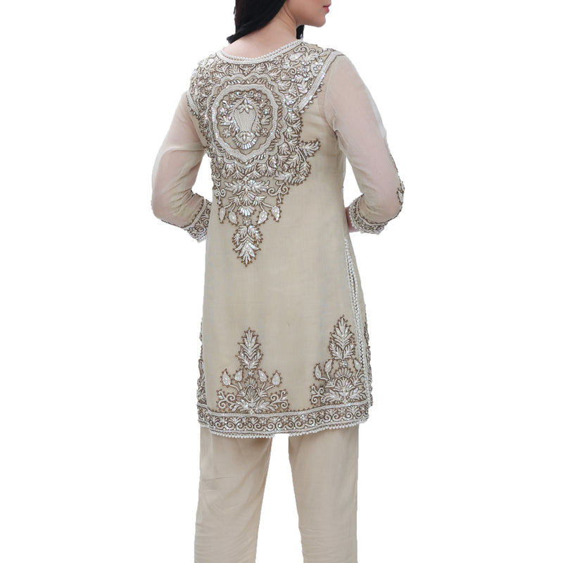 Beige Cotton Zari Kurta