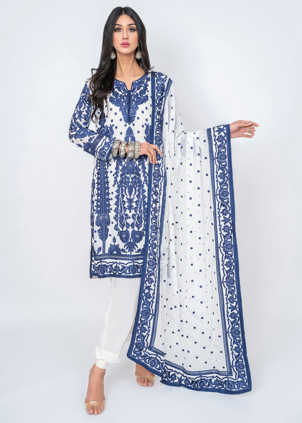 Ink Blue Silk Floss Embroidered Kali kurta & Dupatta