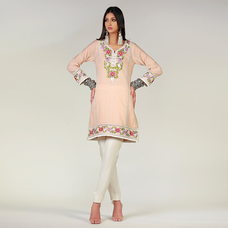 Bunyyaad embroidered Chikan & Shadow Pink floral top