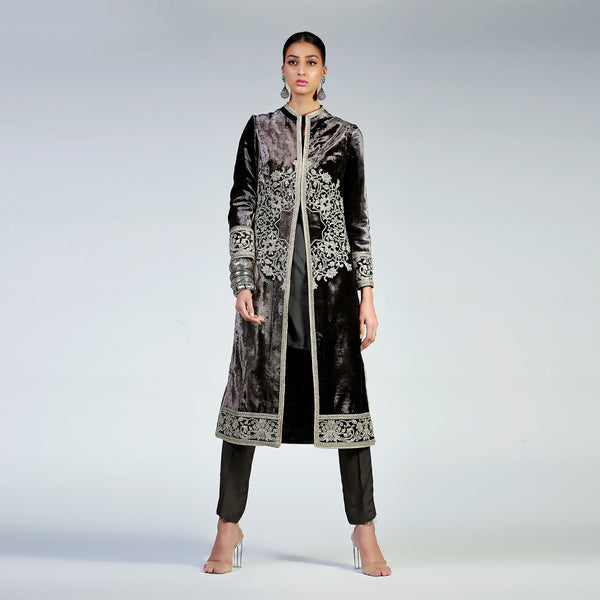 Silver Mandala on Charcoal Grey Velvet Coat Chinese Coller