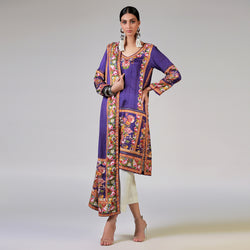 RENAISSANCE GARLANDS ON PRINTED PURPLE SHIRT AND DUPATTA