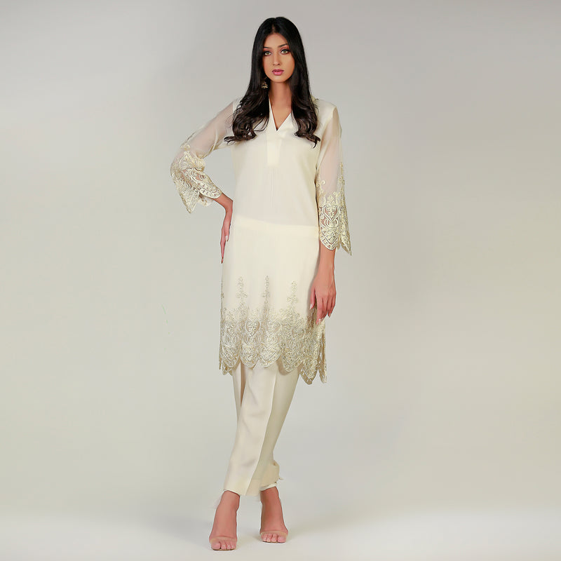 Madubani white lace top