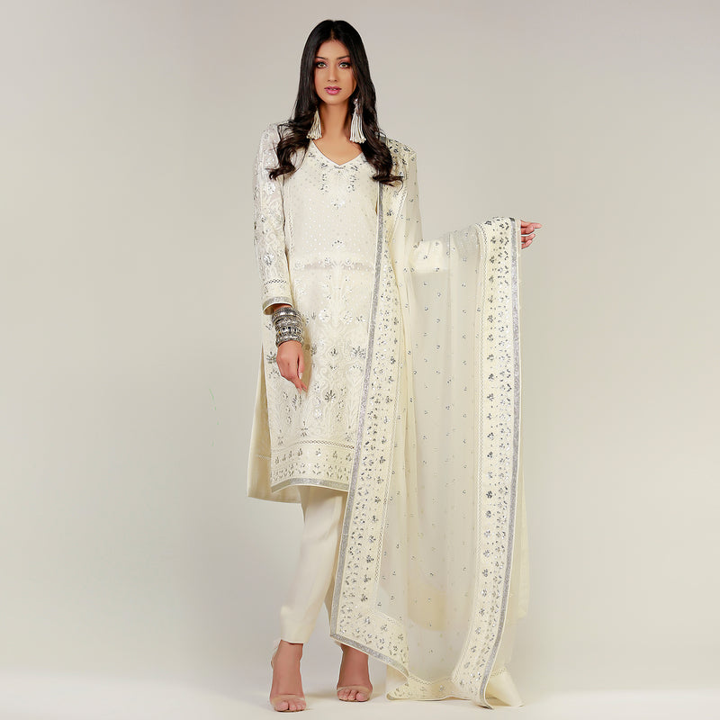 White Dori Hand Embroidered Kali Kurta