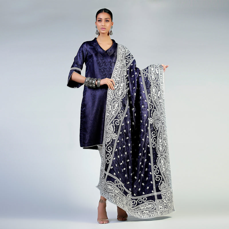 Paisley White Silk Floss Embroidered Navy Blue Jamawar Shawl