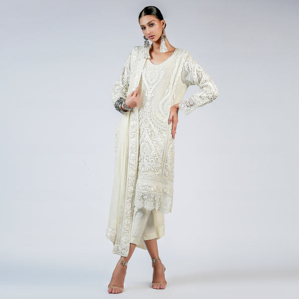 Ivory Swirls & Curls Shirt and Dupatta
