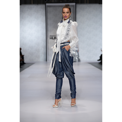 Bow Collar Tuxedo Top with Sheer Sleeves worn & Jodhpur Trousers