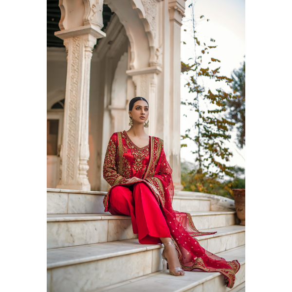 Red Naqushee & Velvet Outline Kali Kurta