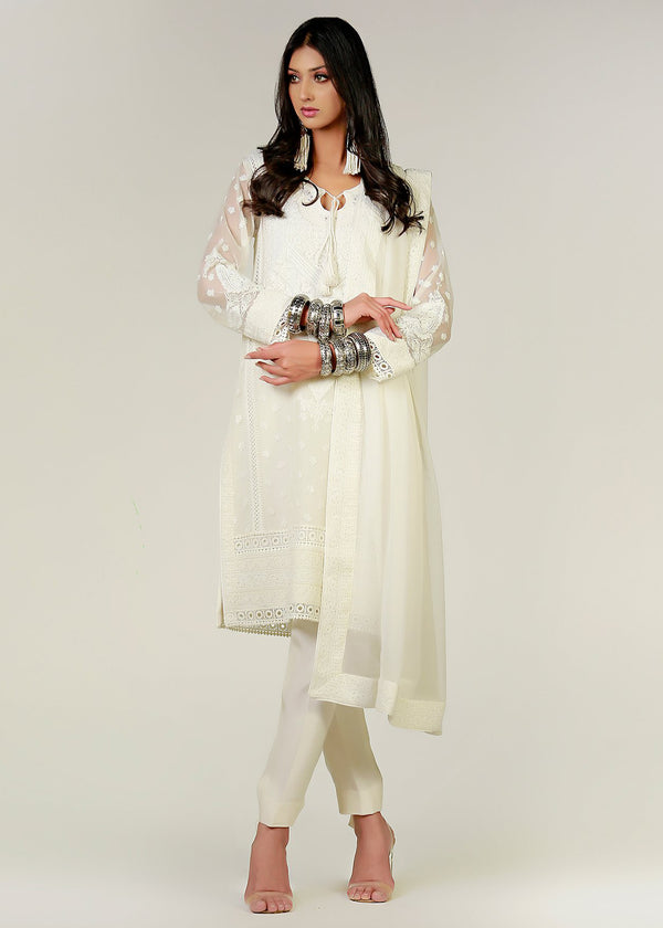 White Marori Embroidered White Kali Kurta & Dupatta