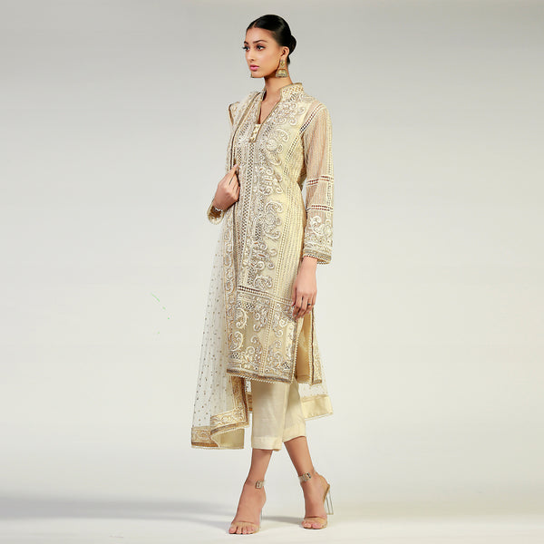 Beige & Gold Silk Floss Embroidered  kali kurta & Dupatta