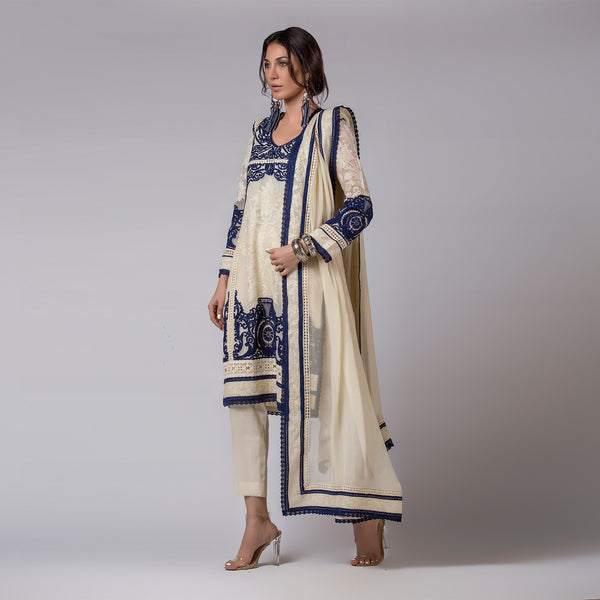 Blue & White embroidered Ivory Kali Kurta & Dupatta