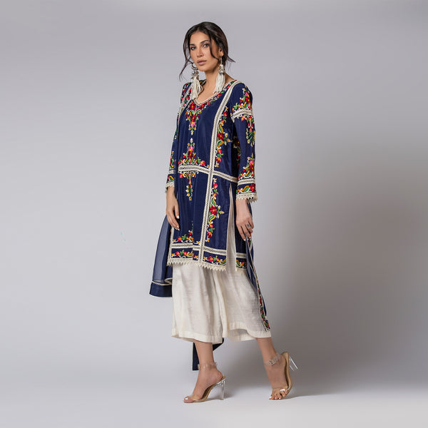 Floral Silk embroidered Ink Blue Pure-Crepe Top & Dupatta