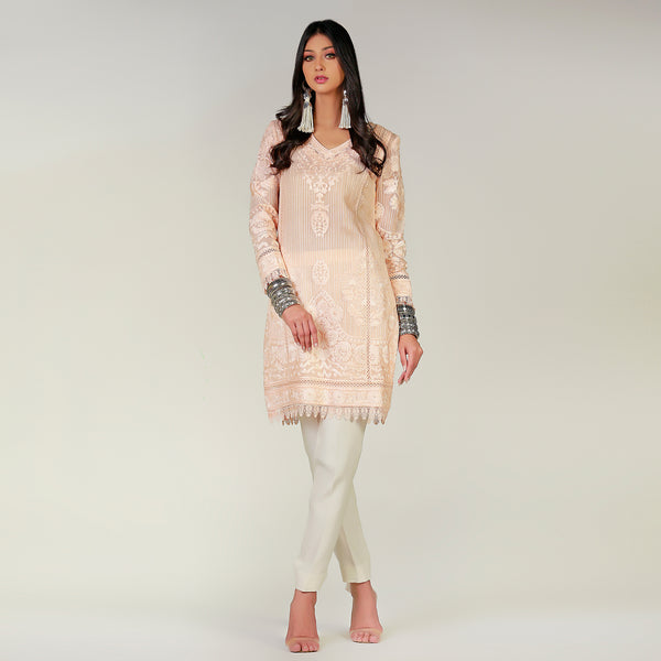 Pink Tear drop kali kurta