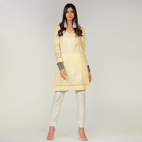 Yellow Tear drop kali kurta