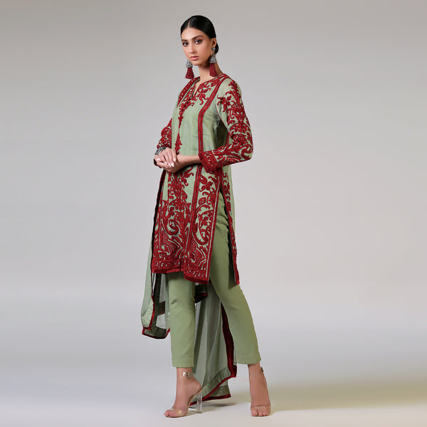 Red Velvet Dori on Embroidered Jade Kali Kurta & Dupatta