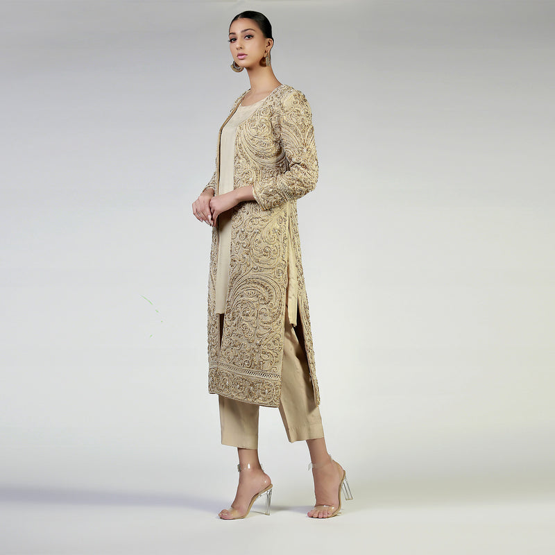 Dori Work & Pearl Embellished Dull Gold Sublime Coat
