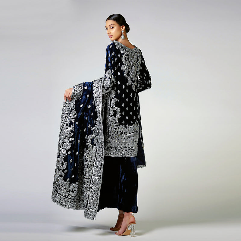 Gota Patti and Silver Ribbon work on Navy Blue Velvet Shirt & Shawl