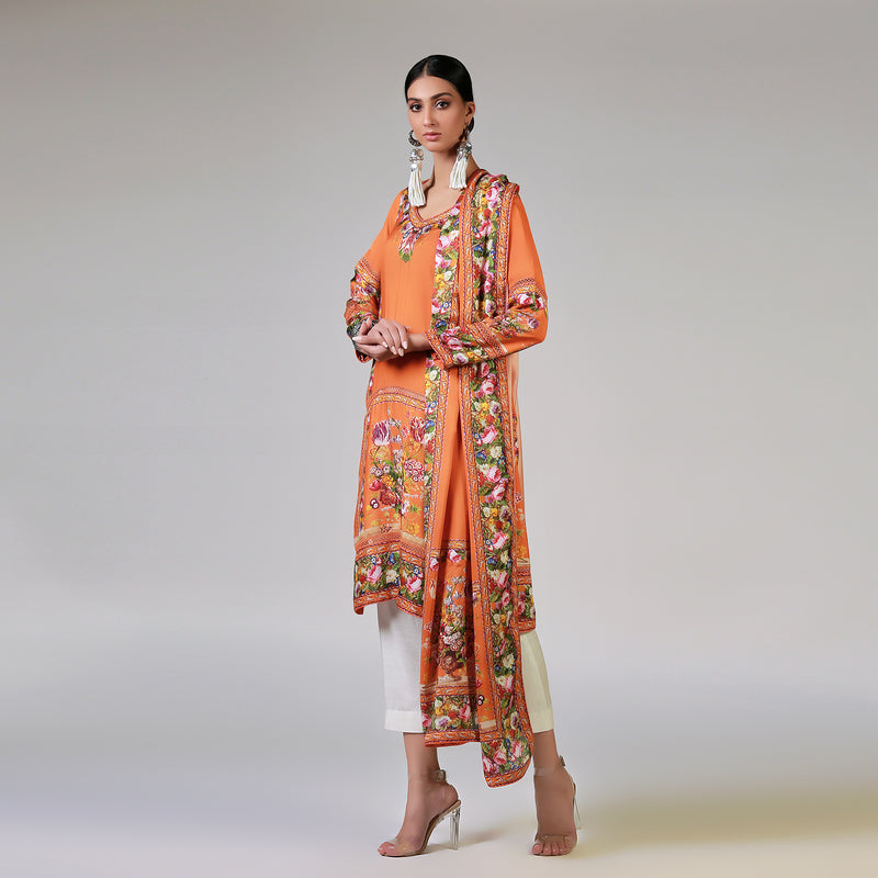Renaissance Garlands on printed Orange Shirt & Dupatta