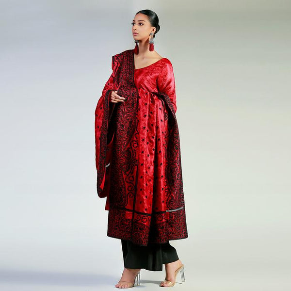Black Silk Floss Embroidered Maroon Jamawar Shawl