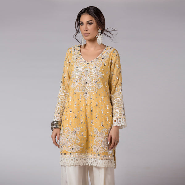 Yellow Shadow Pearls and sequins Embellished Shirt