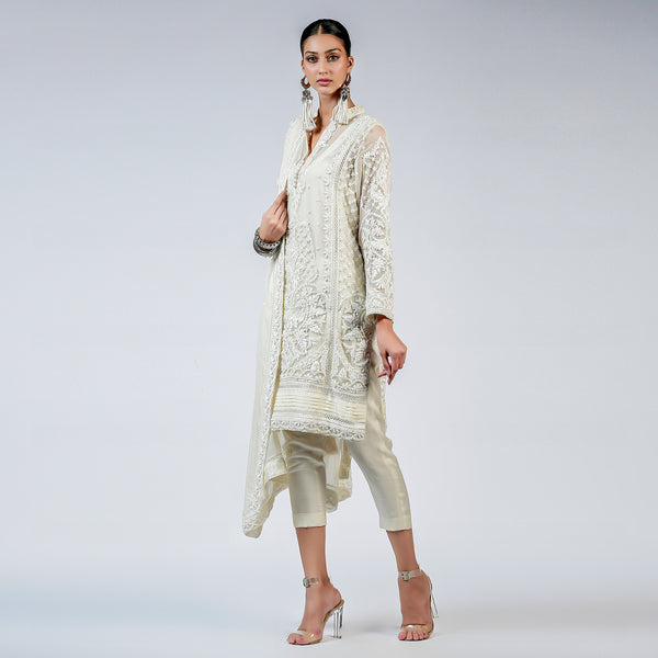 Ivory Ribbon and French Knot Embellished Kali kurta