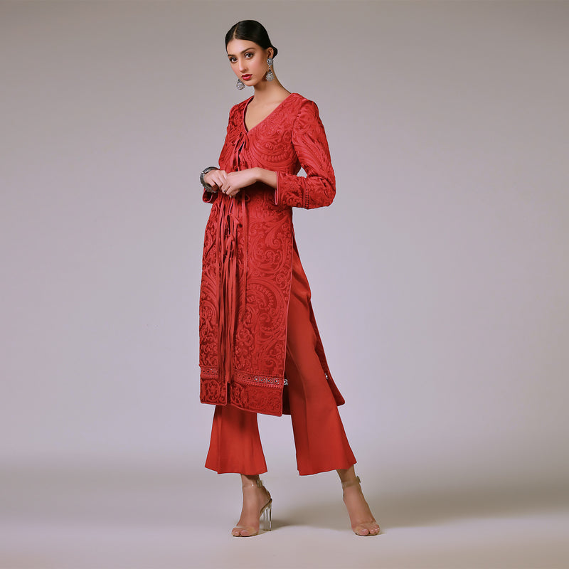 Red Cotton Scrollwork on Silk Coat