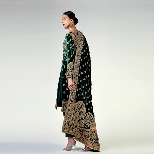 Filigree Gold Dori work on Deep Emerald Green Velvet Shirt and Shawl