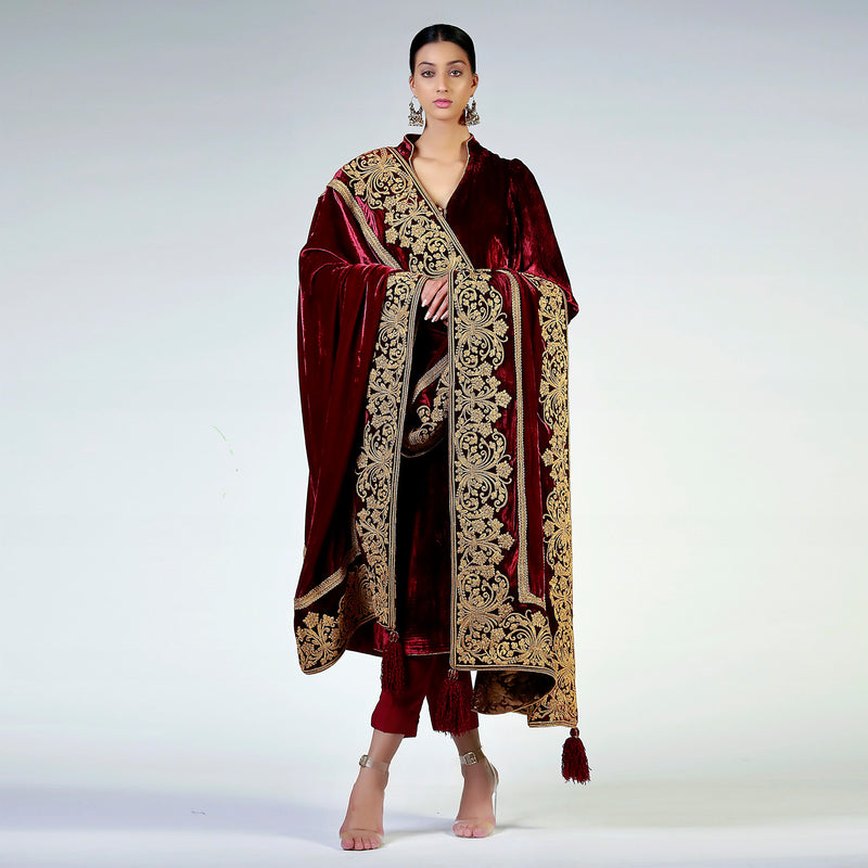 Maroon Marori Embroidered Velvet Shawl