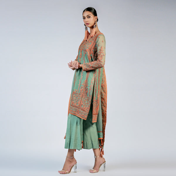 Sea Green Dori Kali Kurta