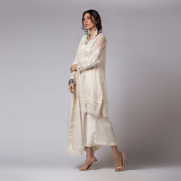 Ribbon and Flower Laced Off-White Kali Kurta & Dupatta
